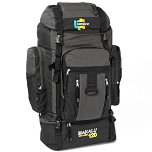 Karabar Makalu Top Loader 120 Litres Extra Large Travel Backpack (Black/Grey)