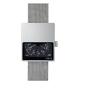 Void V02MKII-SI/MR Men's Analog Silver Mesh Bracelet Band Black Dial Watch