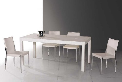 Vig Furniture Estrella 7 Piece Dining Set White High Gloss Lacquer Extendable Dining Table & 6 Leatherette Side Chairs