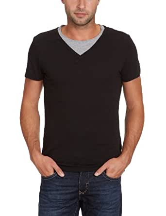 Energie Frige - T-Shirt - Uni - En flamé - Homme - Noir (Noir/Gris Chiné) - M