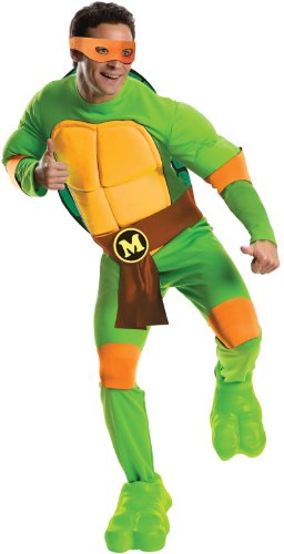 Men's Teenage Mutant Ninja Turtles Deluxe Muscle Chest Michelangelo - XL or Standard