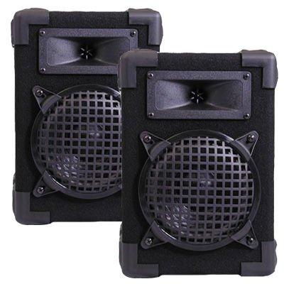 "New DJ PA Karaoke Home Bookshelf 6.5"" Pro Audio Black Two Way Speaker Pair 600C"