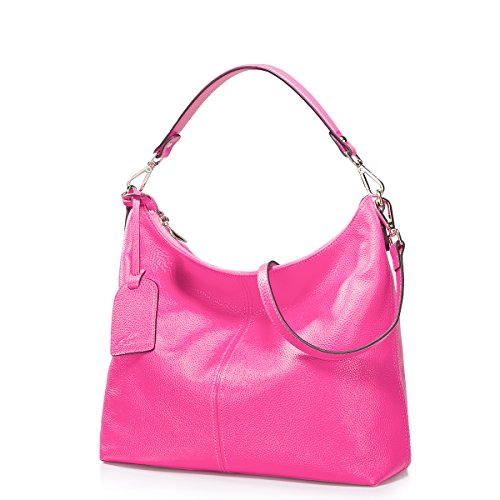 Fashion Latest Style Nucelle Women'S Litchi Grain Cowhide Leather Multifunction Crescent Package Shoulder Bags (Hot Pink)