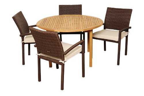 Amazonia Teak Colorado 5-Piece Teak/Wicker Round Dining Set with Off-White Cushions picture
