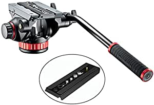 Manfrotto MVH502AH Pro Video Tripod Head with Flat Base w/ Fluid Pan & Drag System and with Built-In Counterbalance and a Bonus Quick Release Plate