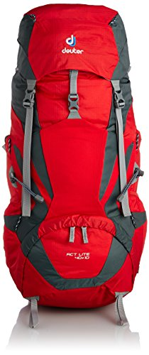 Deuter, Zaino da trekking Act Lite, 50 L, Rosso (Fire/Granite), 74 x 28 x 23 cm, 50 litri