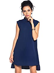 Collared polyester dress with uneven hemline