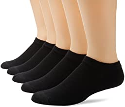 Hanes Men's 5 Pack Ultimate X-Temp No Show Socks, Black, 10-13 (Shoe Size 6-12)