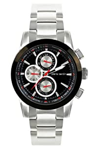 Men's Stainless Steel Round Case Chronograph Function Black Dial Silver Eyes. Black-Bezel.