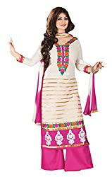 Meghali Women's Cotton Unstitched Salwar Suit (MGAY0D01_Pink White_Free Size)
