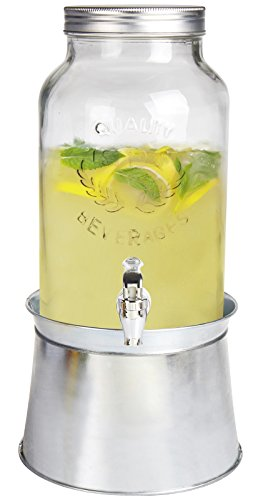 Estilo 1.5 gallon Glass Mason Jar Beverage Drink Dispenser With Ice Bucket Stand And Leak-Free Spigot, Clear (Beverage Cooler Stand compare prices)
