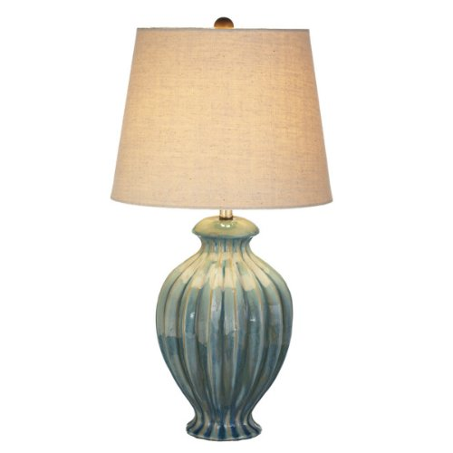 """Pack Of 2 Muted Turquoise Reactive Glazed Table Lamps With Off-White Shades 24"""" front-959056"""