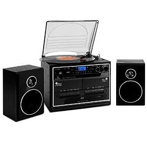 Auna 388-BT - Chaine hifi stéréo multimedia avec Bluetooth, platine vinyle, double lecteur K7, lecteur CD et ports USB/SD MP3 (fonction numerisation, radio FM, 2x30W)