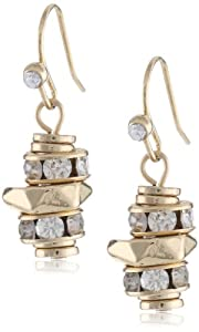 "Kenneth Cole New York ""Jet"" Pave Geometric Bead Drop Earrings"
