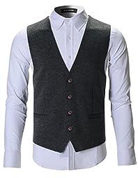 FLATSEVEN Mens Designer Stylish Casual Vest Premium (VE701) Grey, M
