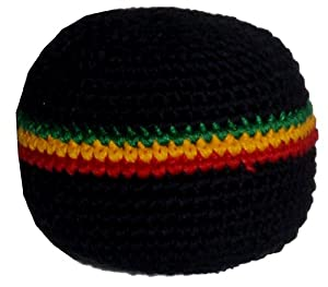 Rasta 3-Stripe Hacky Sack / Footbag - Hand Crocheted Made in Guatemala - Comes with Tips & Game Instructions - G4