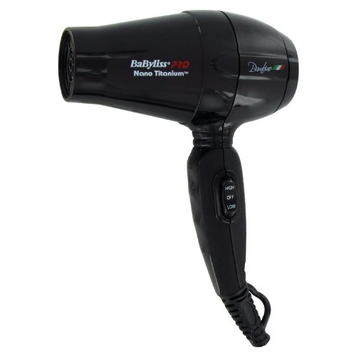 Babyliss Nano Titanium Bambino Compact Blow Dryer, Ultra Lightweight Design, Features 2 Heat / Speed Settings & Dual Voltage For Worldwide Use, Bonus Free Hair Pins Included