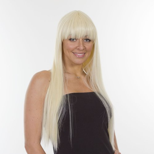 Lady Gaga Wig Bleach Blonde | Long Straight Lady Gaga Hairstyle | Re - Styled for 2012 | Thicker, Fuller and Added Volume.