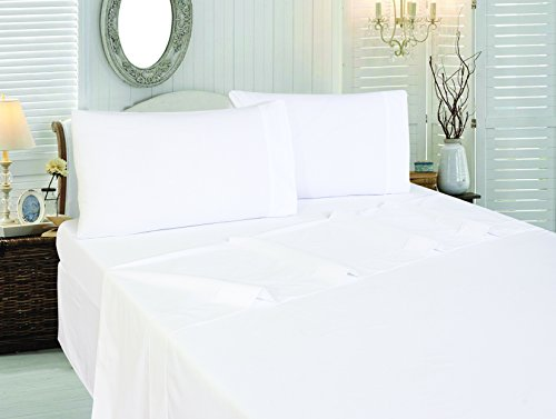 Cotton Sateen Twin Flat-Sheet White - Premium Quality Combed Cotton Long Staple Fiber - Breathable, Cozy, Comfortable & Exceptionally Durable - Hotel Quality by Utopia Bedding (Twin, White) (Cheap Flat Sheets compare prices)