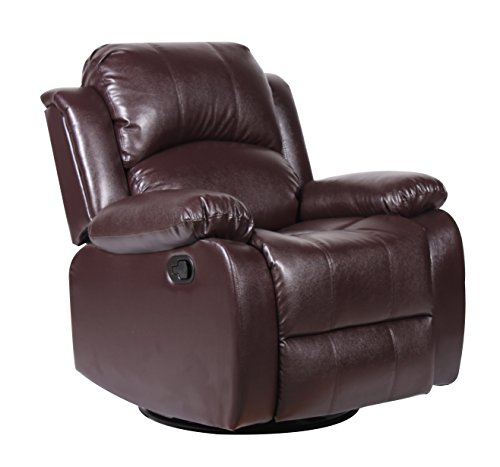 Bonded leather rocker and swivel recliner living room for Swivel reclining chairs for living room