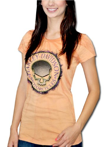 Harley-Davidson® Womens Willie G Skull Photo Wash Crew Neck Texas Orange Short Sleeve T-Shirt (Large)