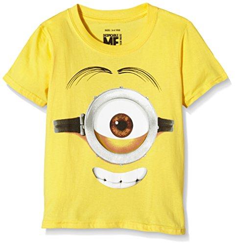 MINIONS Stuart Face, T-Shirt Bambino, Giallo, 3-4 Anni