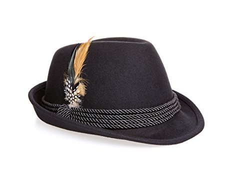 Holiday Oktoberfest Wool Bavarian Alpine Hat - Black Color, Size Extra-Large XL (Fedora Hats Extra Large compare prices)