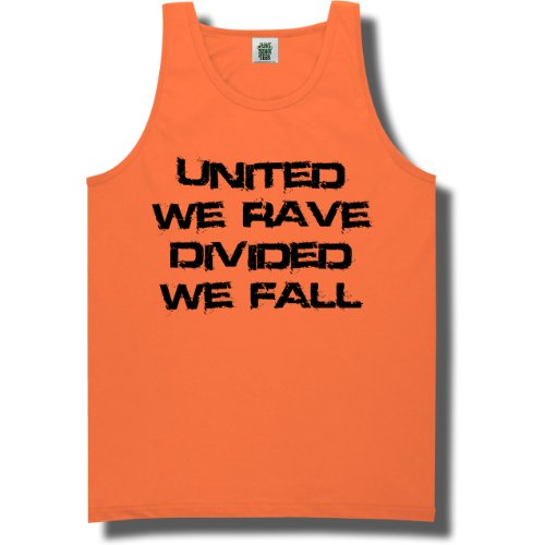 United We Rave, Divided We Fall Bright Neon Green Tank Top - Large