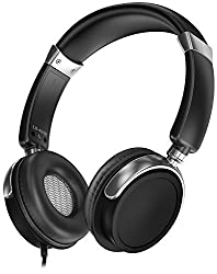 Sentey Headphones w/ Microphone Inline Control for Travel Running Sports Headset Gaming Hifi Audio for Kids Men Woman Strong Bass Earcups Rotation Ls-4230 Black Phaint Transport Carrying Case Included