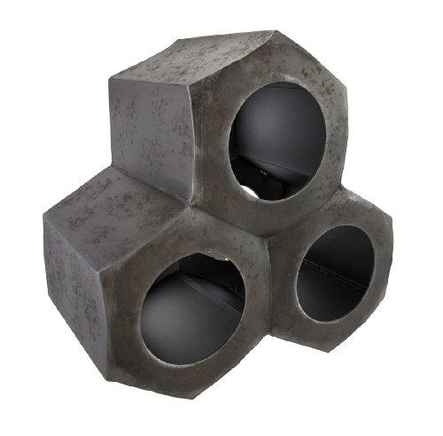 Industrial Nut Metal 3 Bottle Tabletop Wine Rack