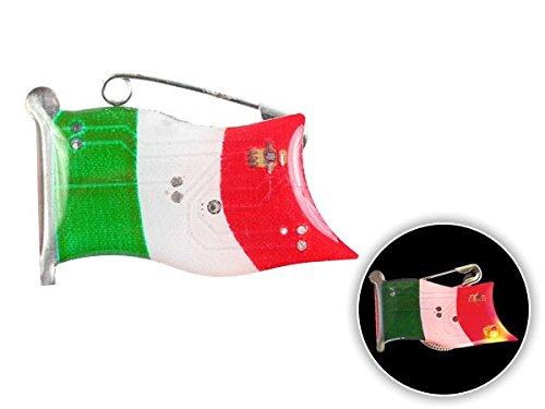 Spilletta LED con luce intermittente bandiera italia italy spilla pin badge calcio europei mondiali tifosi ultra (102)