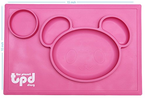 Bear design non-slip Silicone placemat plate by The Planet Diary - divider plate including cup holder, BPA free food divider dinnerware for kids - Color: (pink)