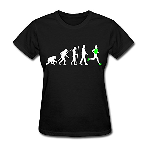 100% Cotton Cute Evolution Running T-Shirts For Woman - Round Neck front-742131
