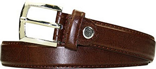 1 Inch Boys Stitched Dress Belt black/brown (medium, brown)
