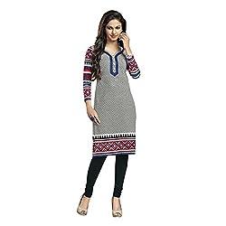 Stylish Girls Women Cotton Printed Unstitched Kurti Fabric (DT201_Grey_Free Size)