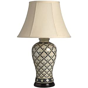 large beige patterned ceramic table lamp h1261 vintage