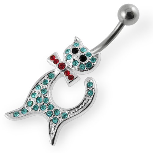 PiercingWorld aquamarine INE color poly-Kitty shape Silver Belly rings body ornaments