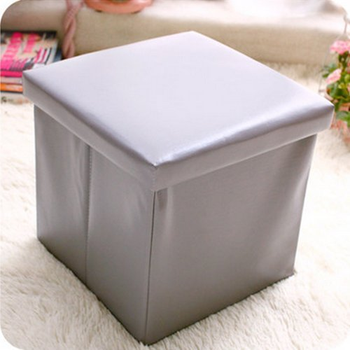 Udtee 1Pcs Multi-Functional/Soft Free Size Grey Color Faux Leather Storage Ottoman/Collapsible/Foldable Seat/Foot Rest Coffee Table