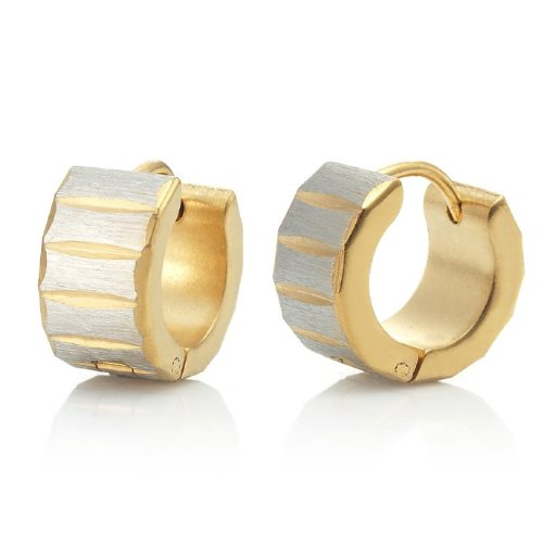 Unique Rolling Style Mens Stainless Steel Hoop Earrings (Gold)