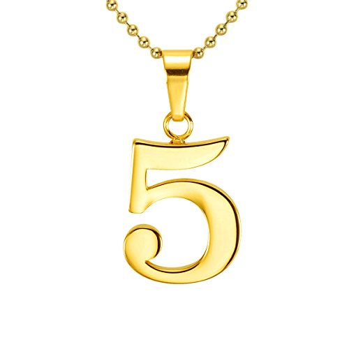 HACOOL 18k Gold Plated Lucky Number 0 to 9 Character Necklace Pendant Necklace Charm Jewelry 16