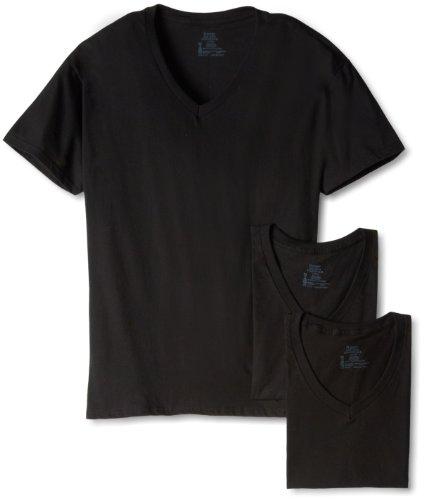 Hanes Men's Classics 3 Pack Black V-Neck Tee