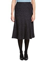 Classic Zig Zag Tweed Long Skirt with Wool
