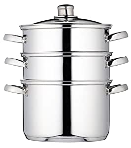 Kitchen Craft Clearview Cuiseur vapeur à 3 étages Acier inoxydable 22 cm