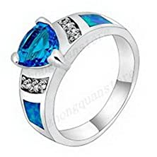 buy Jacob Alex Ring Band Blue Opal Cz Rings 10Kt White Gold Filled Size6 Moissanite Jewelry