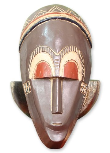 NOVICA Decorative Ghanaian Large Sese Wood Mask, Brown, 'Young But Wise'
