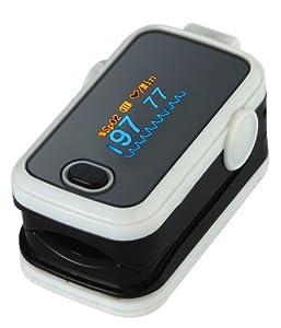 Doigt oxymètre SPO2 de pouls & Moniteur de fréquence cardiaque Blanc - PILES, ETUI EN SILICONE DE PROTECTION/RANGEMENT/TRANSPORT ET INSTRUCTIONS INCLUS - Grand écran LED, Anti-secousses, 6 Modes d'affichage, Valeur d'alarme réglable - RAPIDE, CLAIRE ET PRECIS!