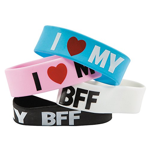 12 I Love My BFF Big Band Rubber Bracelets - Valentine's Day & Novelty Jewelry