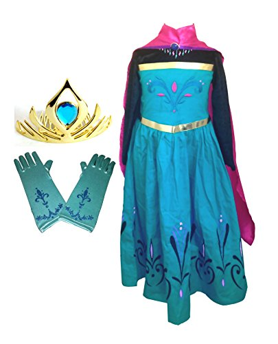 Elsa Coronation Dress Costume, Cape, Gloves, and Tiara Crown - Frozen Halloween Costumes