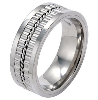 9MM High Polished Titanium Ring with Gear Design and Rope in Center For Men