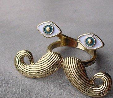 JE285 Personalized Ring, Retro Ring, Große Augen Und Grossen Schnurrbart Ring, Einzigartig Ring